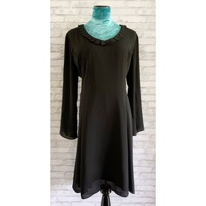 The Limited Black Flowy A-line Pleated Neck Dress